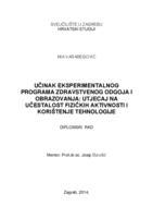 Učinak eksperimentalnog programa zdravstvenog odgoja i obrazovanja: Utjecaj na učestalost fizičkih aktivnosti i korištenja tehnologije