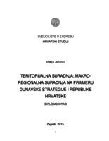 Teritorijalna suradnja: Makroregionalna suradnja na primjeru Dunavske strategije i Republike Hrvatske